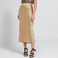 Satin Midi Skirt  LIGHT COCOA  hi-res