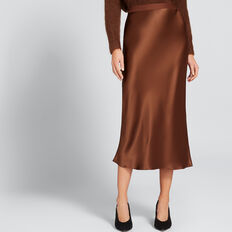 Satin Midi Skirt  BURNT TOFFEE  hi-res