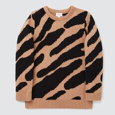 Animal Jacquard Sweater  BISCUIT  hi-res