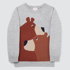 Bears Intarsia Sweater  GREY SPECKLE MARLE  hi-res