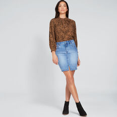 Side Stitch Denim Skirt  CLASSIC DENIM  hi-res