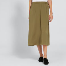 Flowing Midi Skirt  DARK KHAKI  hi-res