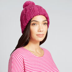Rib Knit Pom Pom Beanie  FUSCHIA  hi-res