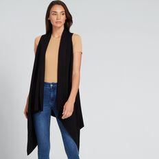 Sleeveless Knit Poncho  BLACK  hi-res
