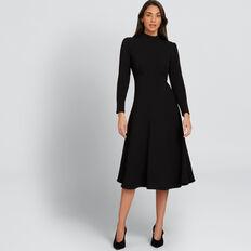 High Neck Jacquard Dress  BLACK  hi-res