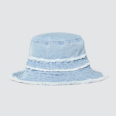 Frayed Denim Bucket Hat  CHAMBRAY  hi-res