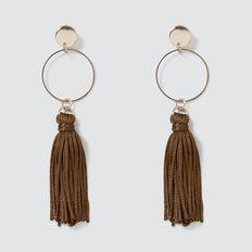 Circle Tassle Earrings  DARK KHAKI  hi-res