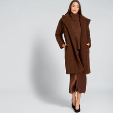 Longline Teddy Coat  BURNT TOFFEE  hi-res