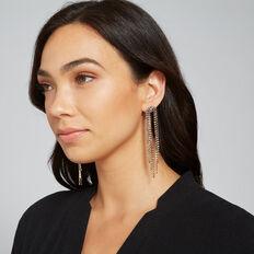 Rhinestone Drop Earrings  GOLD  hi-res