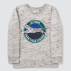 Sporty Print Sweater  GREY SPACE DYE  hi-res