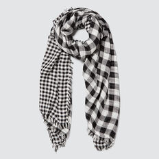 Double Sided Check Scarf  BLACK/WHITE  hi-res
