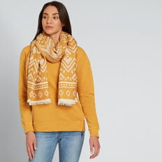 Two Tone Geo Print Scarf  GOLDEN MUSTARD  hi-res