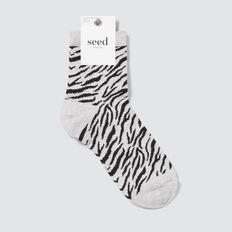1/4 crew socks  ZEBRA  hi-res