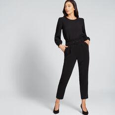 Jacquard Puff Sleeve Top  BLACK  hi-res