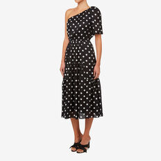 One Shoulder Spot Dress  BLACK/WHITE SPOT  hi-res