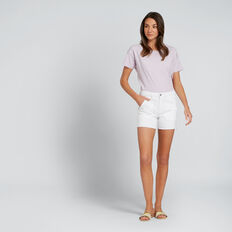 Patch Pocket Denim Short  WHITE  hi-res