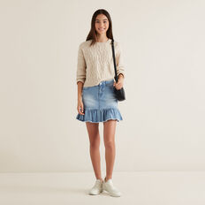 Cable Crop Sweater  OAT MARLE  hi-res