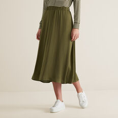 Flowing Midi Skirt  RICH OLIVE  hi-res