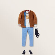 Chenille Slogan Windcheater  CLOUDY MARLE  hi-res