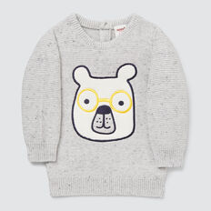 Bear Applique Knit  CLOUDY MARLE  hi-res