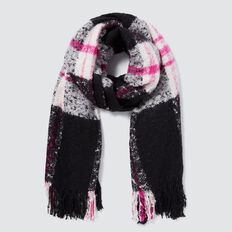Winter Check Scarf  BLACK MULTI  hi-res