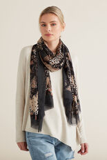 Mixed Paisley Ocelot Scarf  BLACK MULTI  hi-res