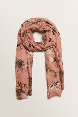 Crane Print Scarf  ROSE BLUSH  hi-res