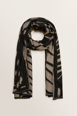 Abstract Animal Jacquard Scarf  BLACK/CREAM  hi-res