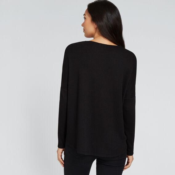 Textured V-Neck Top  BLACK  hi-res