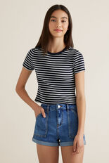 Boxy Crop Tee  MIDNIGHT STRIPE  hi-res