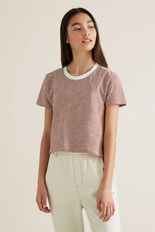 Mini Stripe Tee  CHESTNUT  hi-res