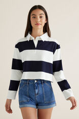 Crop Rugby Top  MIDNIGHT STRIPE  hi-res