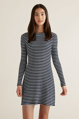 Rib Long Sleeve Dress  MIDNIGHT STRIPE  hi-res
