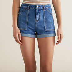 Utility Denim Short  MID INDIGO  hi-res