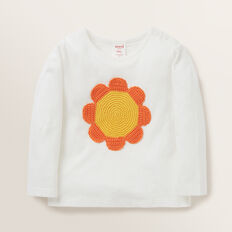 Long Sleeved Crotchet Daisy Tee  CANVAS  hi-res