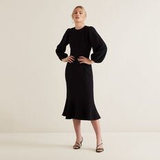 Full Sleeve Jacquard Dress  BLACK  hi-res