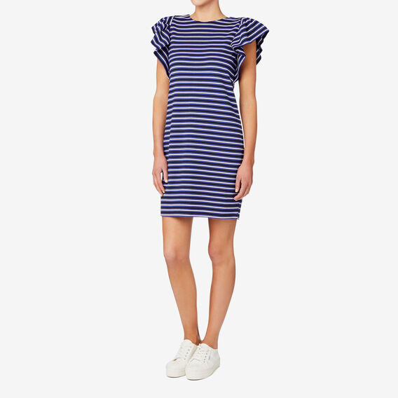 Striped Frill Sleeve Dress  STRIPE  hi-res