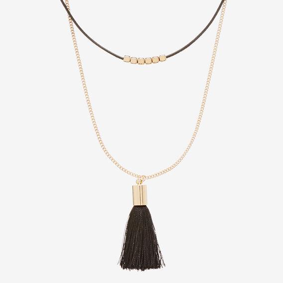 Tassel Bead Choker  BLACK/GOLD  hi-res
