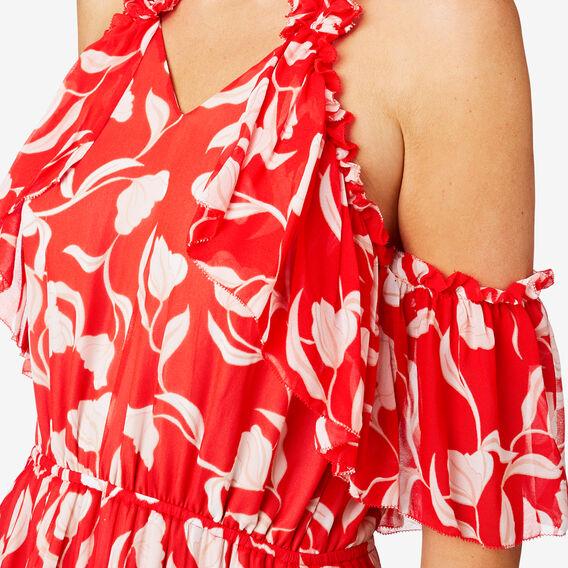 Frill Detail Maxi  ROYAL RED FLORAL  hi-res