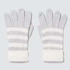 Knitted Stripe Gloves  CLOUD  hi-res