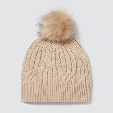 Cable Knit Beanie  BEIGE  hi-res