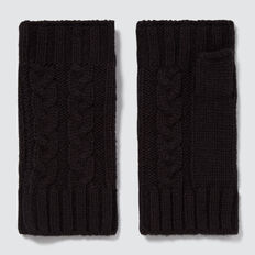Cable Fingerless Gloves  BLACK  hi-res