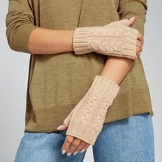 Cable Fingerless Gloves  CAMEL  hi-res