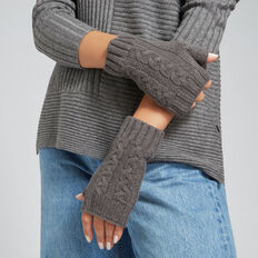 Cable Fingerless Gloves  CHARCOAL  hi-res