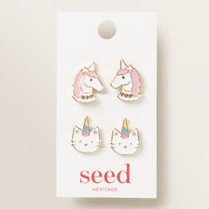 Caticorn Clip On Earrings  MULTI  hi-res
