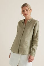Classic Linen Shirt  WASHED OLIVE  hi-res