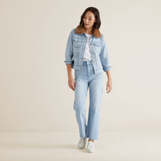 Faux Fur Denim Jacket  PASTEL DENIM WASH  hi-res