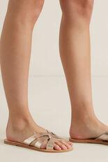 Emma Leather Slide  METALLIC  hi-res