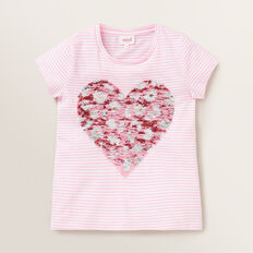 Sequin Heart Tee  PINK BLUSH/WHITE  hi-res