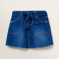 Tie Waist Denim Skirt  BRIGHT INDIGO  hi-res